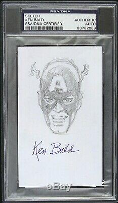 1942 circa Ken Bald Captain America Signed 3x5 Sketch (PSA/DNA Slabbed)