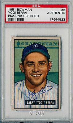 1951 Bowman #2 YOGI BERRA Signed Auto Slabbed Card Red Flip NY Yankees PSA/DNA