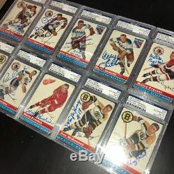 1954-55 Topps Hockey Signed Set 31/60 Gordie Howe Lindsay Schmidt Psa/dna Slab
