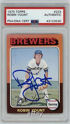 1975 BREWERS Robin Yount signed ROOKIE card Topps #223 PSA/DNA Slab AUTO RC
