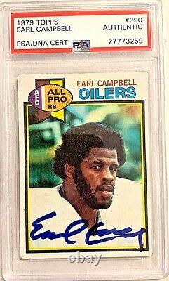 1979 Topps #390 Earl Campbell Signed Auto RC Card PSA/DNA Slabbed