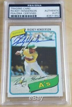 1980 Topps Rickey Henderson #482 Auto Autographed PSA/DNA Slabbed RC Signed