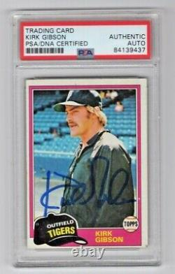 1981 Topps Kirk Gibson Signed Auto Rookie RC Trading Card #315 PSA/DNA Slabbed