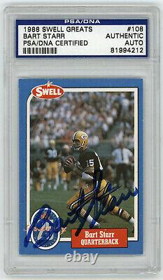 1988 PACKERS Bart Starr signed card Swell #108 AUTO PSA/DNA Slab Autographed HOF