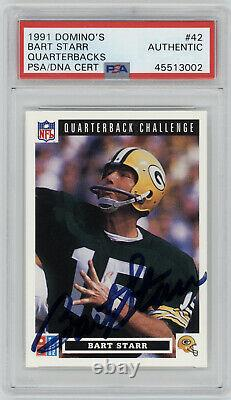 1991 PACKERS Bart Starr signed card Domino's #42 AUTO PSA/DNA Slab Autographed