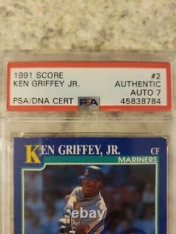 1991 Score Ken Griffey Jr. Signed Auto 7 Card PSA DNA Slabbed #2 HOF Mariners