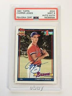 1991 Topps Chipper Jones Signed Auto Rookie Card Mint 9 PSA DNA Slabbed #333
