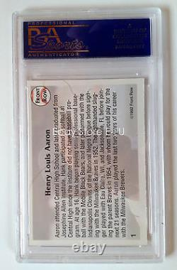 1992 Front Row HANK AARON PSA/DNA Certified Auto Slabbed Perfect Blue Autograph