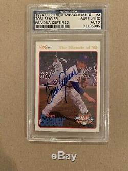 1994 Mets 69 Spectrum Promos #P3 Tom Seaver Signed Autographed Card PSADNA Slab