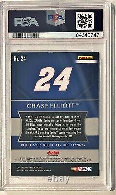 2016 Panini Prizm Chase Elliott Signed Rookie Auto RC Card #24 PSA/DNA Slabbed