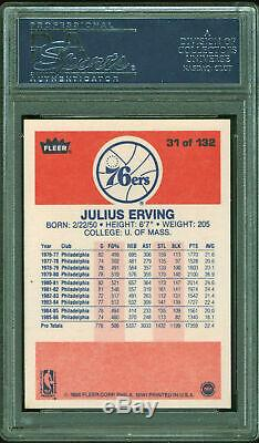 76ers Julius Dr. J Erving Authentic Signed 1986 Fleer #31 Card PSA/DNA Slabbed