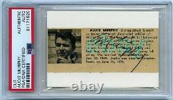 AUDIE MURPHY signed cut autograph PSA/DNA slabbed Actor WWII Medal of HONOR RARE