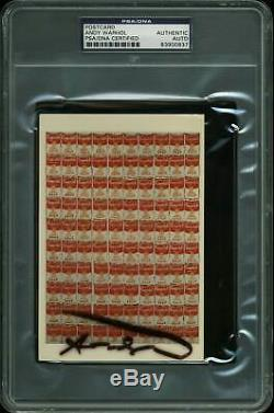 Andy Warhol Authentic Signed 4x6 Campbell's Soup Postcard PSA/DNA Slabbed