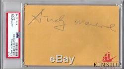 Andy Warhol signed 3.5x5.5 cut PSA DNA Slabbed Full Auto d. 1987 Rare Artist C359