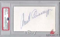 Arnold Schwarzenegger signed 3x5 cut PSA DNA Slabbed Full Vintage Auto C330