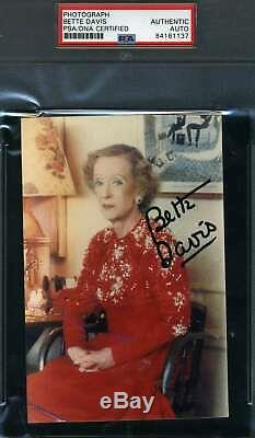 Bette Davis Psa Dna Coa Autograph 4x6 Photo Hand Signed Slabbed