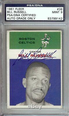 Bill Russell 1961-62 Fleer Vintage Signed Autographed Card PSA/DNA Slabbed #38
