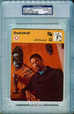 Bill Russell Autographed PSA/DNA Slabbed 1977 Sports Caster Card