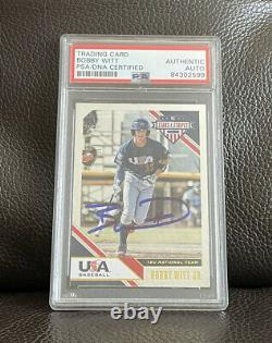 Bobby Witt Jr Signed 2020 Panini USA Baseball Stars & Stripes Card Psa/Dna Slab