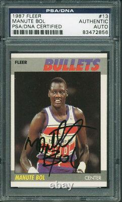 Bullets Manute Bol Authentic Signed Card 1987 Fleer #13 PSA/DNA Slabbed