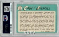 Casey Stengel signed 1965 Topps Trading Card PSA DNA Slabbed Auto Mets HOF C451