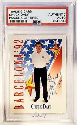 Chuck Daly Team USA NBA Authentic Autograph Signed Card Hoops PSA/DNA Slabbed