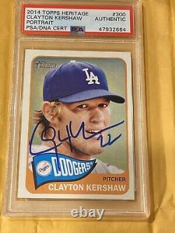 Clayton Kershaw 2014 Topps Heritage Signed Autograph Dodgers PSA DNA Slab Cert