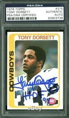 Cowboys Tony Dorsett HOF 94 Signed Card 1978 Topps RC #315 PSA/DNA Slabbed