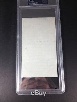 David Janssen The Fugitive Autograph Bar Receipt Slabbed PSA/DNA Grade 8 NM-MT