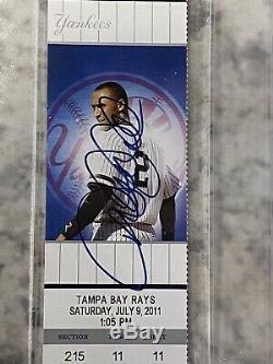 Derek Jeter Signed 3000 hit Game Ticket With Jeters Image RARE Psa/Dna Slab