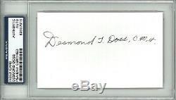 Desmond Doss Signed Index Card Psa Dna Slabbed 83967018 (d) Moh Hacksaw Ridge