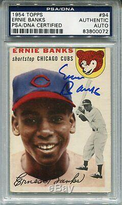 Ernie Banks 1954 Topps #94 RC Autographed Signed PSA DNA Slabbed Cubs HOF CFS