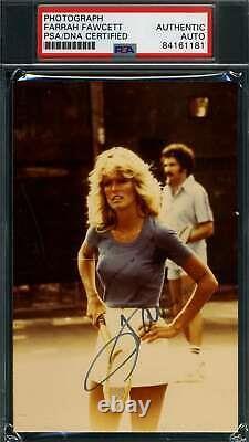 Farrah Fawcett Psa Dna Coa Autograph 1970`s Photo Hand Signed Slabbed