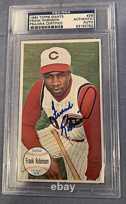Frank Robinson 1964 TOPPS GIANTS SIGNED & Autographed Card PSA DNA slabbed Nice