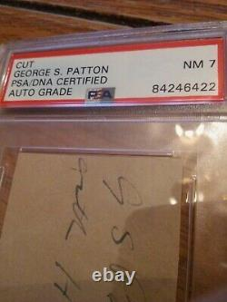 General George S. Patton Signed Cut PSA DNA Slabbed! Rare