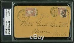 George Custer Signed 3x5.5 Envelope To Wife Mrs. Genl Custer PSA/DNA Slabbed