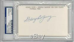 George Young Giants GM signed 3x5 Index Card PSA/DNA Slabbed auto