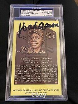 HANK AARON Autographed HOF Plaque Postcard PSA/DNA Authentic Auto Signed Slabbed