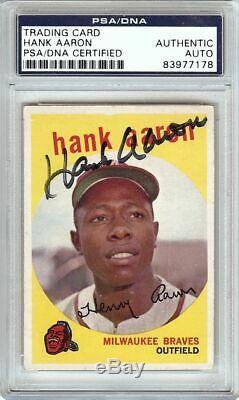 Hank Aaron 1959 Topps Vintage Signed Autographed Card PSA/DNA Slabbed #380