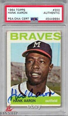 Hank Aaron signed 1964 Topps Trading Card PSA DNA Slabbed Auto Braves HOF C443