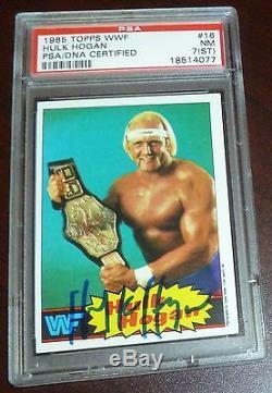 Hulk Hogan Signed 1985 Topps WWF Card #16 PSA/DNA 7 Slab Autographed WWE Auto RC