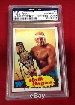 Hulk Hogan Signed 1985 Topps WWF Card PSA/DNA Slabbed # 83538212