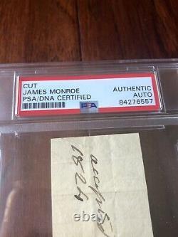 JAMES MONROE PSA/DNA Slab Autograph Endorsement Signed As President