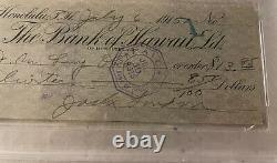Jack London Author Autographed PSA/DNA Slabbed Signed Check Gem NM-MT 8