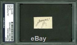 James Dean Jimmie D Authentic Signed. 75x1.25 Cut Autograph PSA/DNA Slabbed