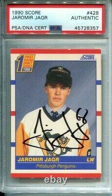 Jaromir Jagr RC 1990 Score Penguins signed PSA/DNA auto slabbed hockey card Pens
