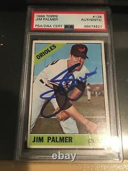 Jim Palmer 1966 Topps Card Autographed Rookie Card PSA DNA Slabbed