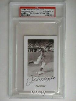 Joe Dimaggio Autographed Signed Psa/dna 1993 Pinnacle Card #3 Certified Slabbed