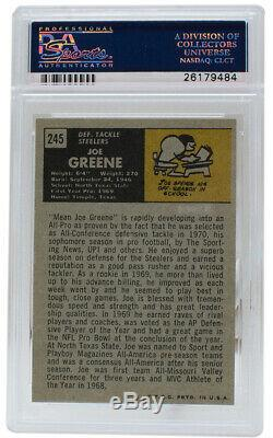 Joe Greene Signed 1971 #245 Topps Steelers Rookie Card Slabbed HOF 87 PSA/DNA