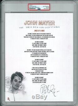 John Mayer Signed Lyric Sheet Psa Dna 84193522 Slabbed Emoji Of A Wave Rare